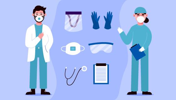 医生护士和医疗用品矢量素材(AI/EPS)