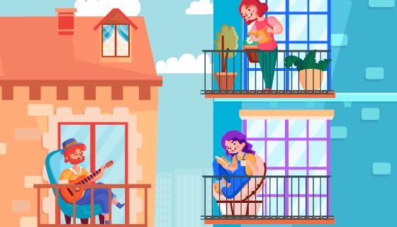 在阳台上休闲的人们矢量素材(AI/EPS)