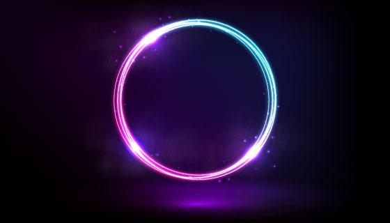 紫色蓝色霓虹灯光圈矢量素材(AI/EPS)