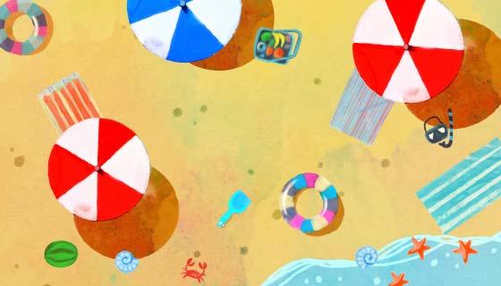 水彩风格俯视沙滩矢量素材(AI/EPS)