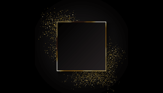 优雅的金色正方形边框矢量素材(EPS)
