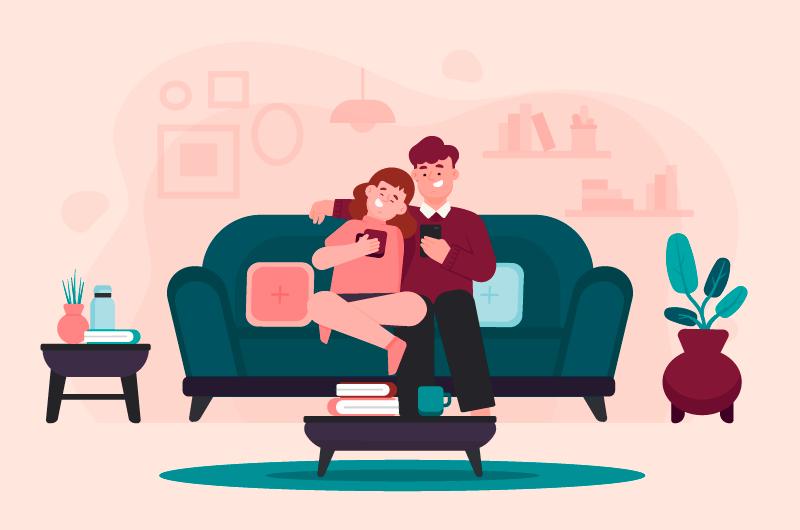 坐在沙发上刷手机的甜蜜夫妻矢量素材(AI/EPS)