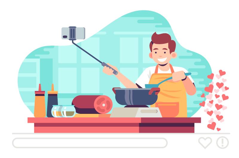 直播做菜的男子矢量素材(AI/EPS)
