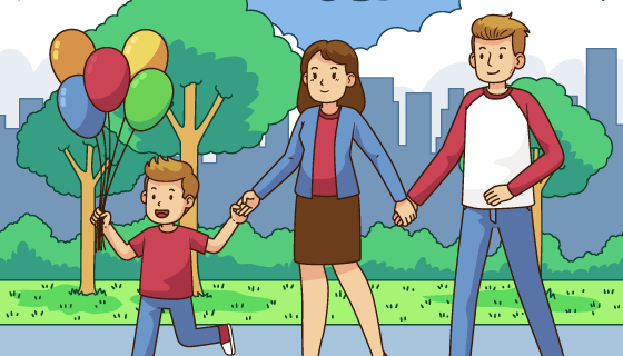 一家人手拉手散步矢量素材(AI/EPS)