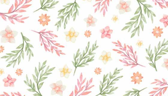 水彩风格花朵叶子背景矢量素材(AI/EPS/PNG)