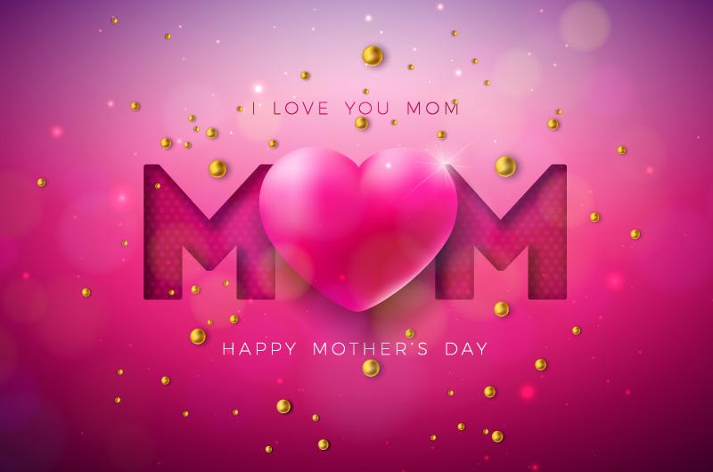 粉色爱心设计母亲节快乐卡片矢量素材(EPS)