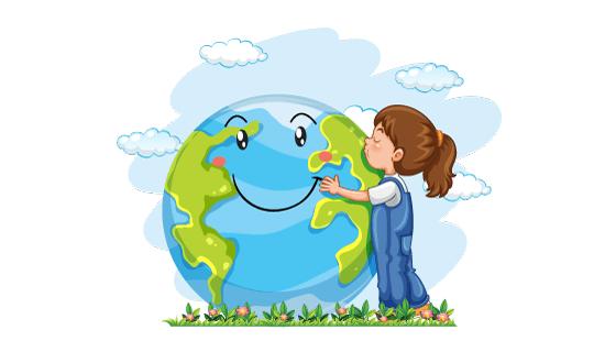 拥抱亲吻地球的小女孩矢量素材(EPS)