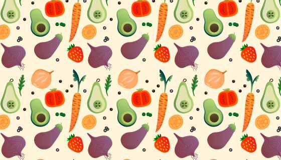 水果蔬菜图案背景矢量素材(AI/EPS/PNG)