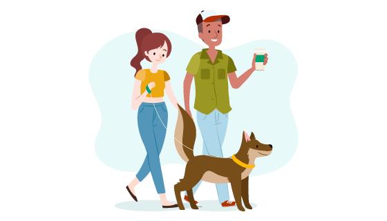 正在遛狗散步的情侣矢量素材(AI/EPS)