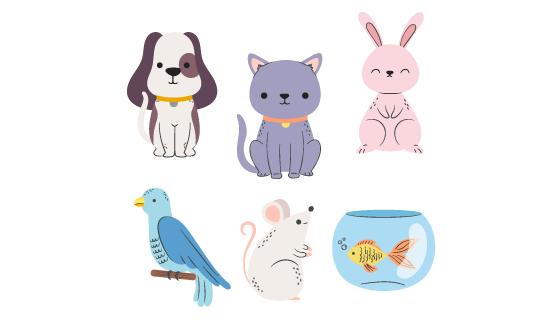 六种可爱的宠物矢量素材(AI/EPS/PNG)