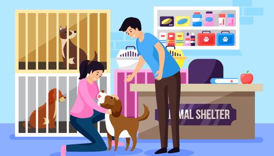 在宠物寄养中心寄养狗的女子矢量素材(AI/EPS)