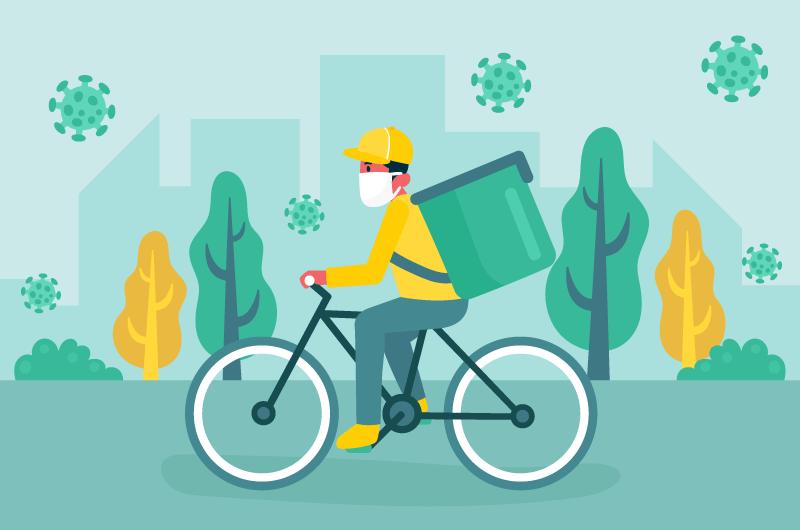 带口罩骑自行车送货的快递员矢量素材(AI/EPS)