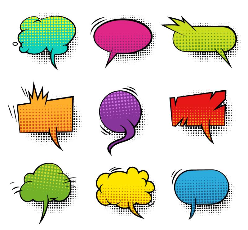 漫画风格对话框气泡矢量素材(EPS/免扣PNG)