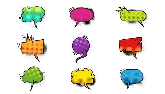 漫画风格对话框气泡矢量素材(EPS/PNG)