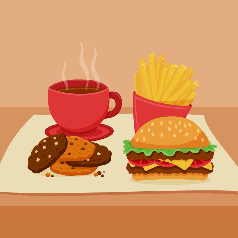 扁平风格的美味快餐矢量素材(AI/EPS)