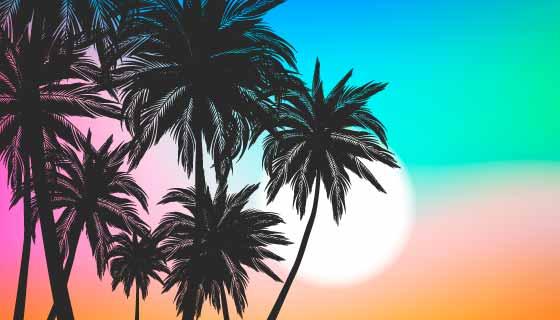 彩色棕榈树剪影背景矢量素材(AI/EPS)