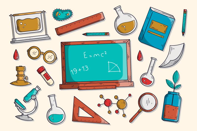 手绘风格科学教育背景矢量素材(AI/EPS/免扣PNG)