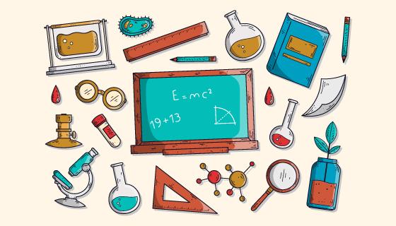 手绘风格科学教育背景矢量素材(AI/EPS/PNG)