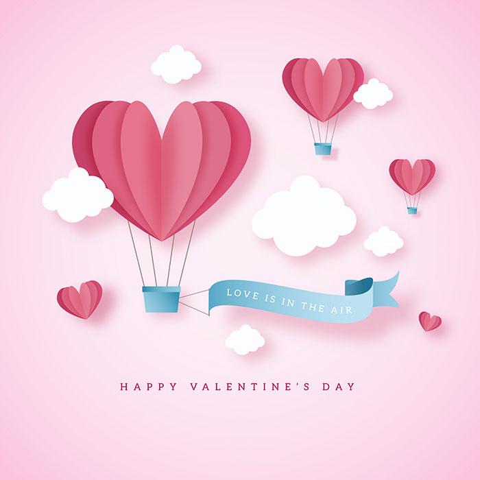 爱心热气球情人节背景矢量素材(EPS/AI)