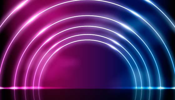 闪亮圆圈霓虹灯背景矢量素材(AI/EPS)
