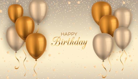 金色气球生日快乐背景矢量素材(AI/EPS)