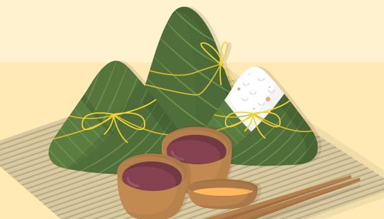 美味的端午节粽子和香茶矢量素材(AI/EPS)