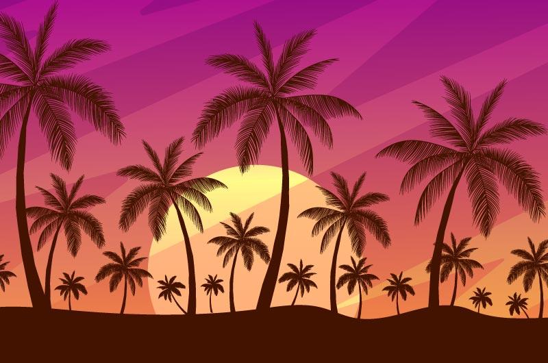 黄昏棕榈树剪影矢量素材(AI/EPS)