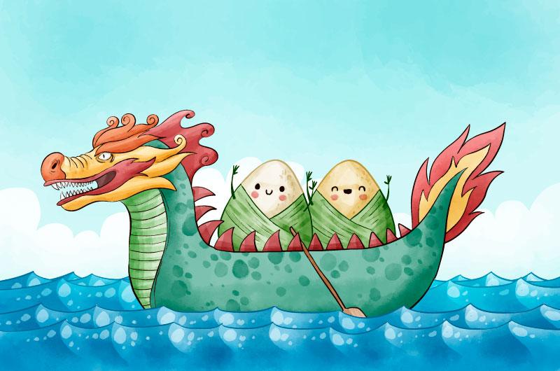水彩风格可爱的龙舟和粽子矢量素材(AI/EPS)