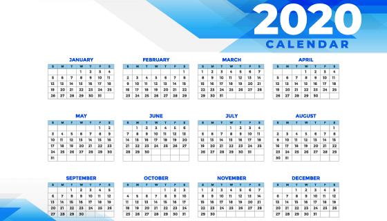 蓝色设计简约2020年日历矢量素材(EPS)