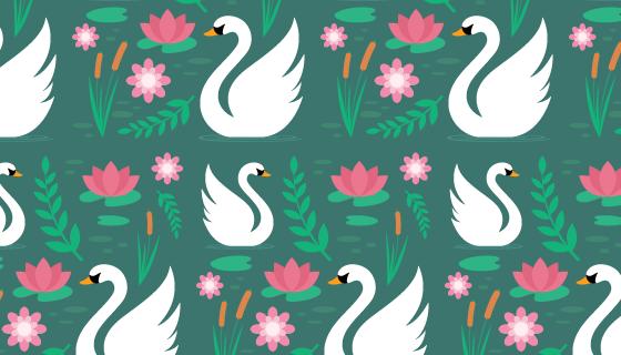 白天鹅和花朵图案背景矢量素材(AI/EPS)