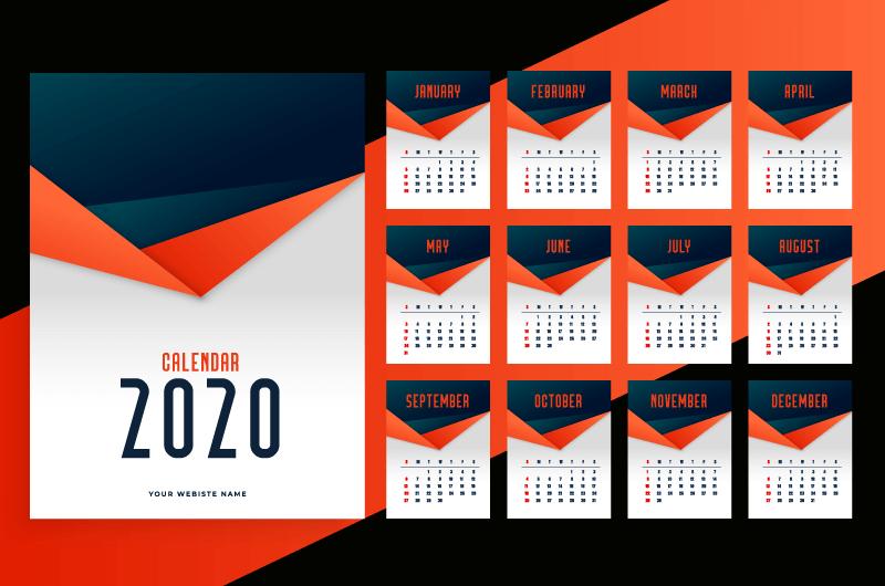 橘色黑色简约设计2020年日历矢量素材(EPS)