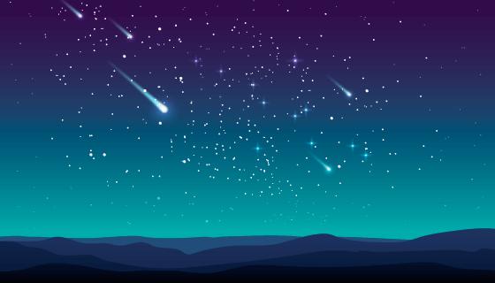 夜空中划过的流星矢量素材(AI/EPS)