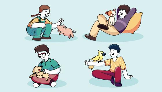 与宠物玩耍的人们矢量素材(AI/EPS)