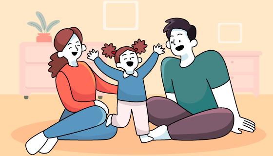 一家人在一起享受时光矢量素材(AI/EPS)