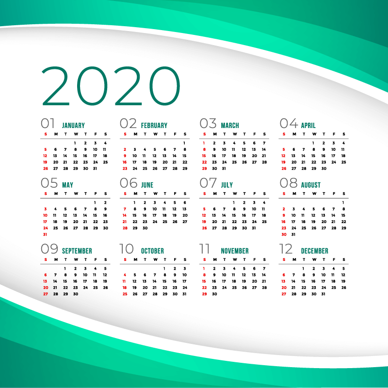 绿色设计简约2020年日历矢量素材(eps)图片