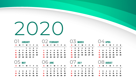 绿色设计简约2020年日历矢量素材(EPS)