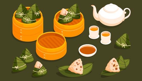 扁平风格美味端午节粽子矢量素材(AI/EPS/PNG)