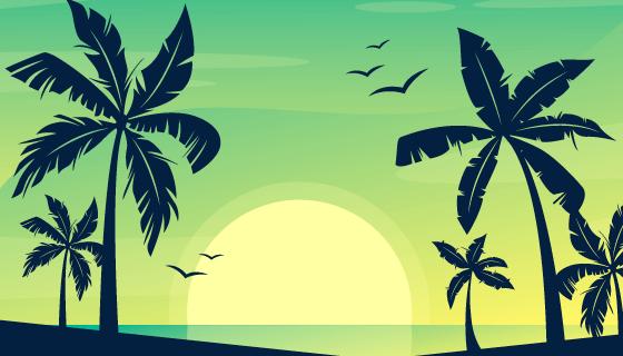 多彩棕榈树剪影背景矢量素材(AI/EPS)