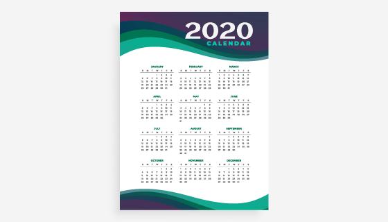 简单设计2020年日历矢量素材(EPS)