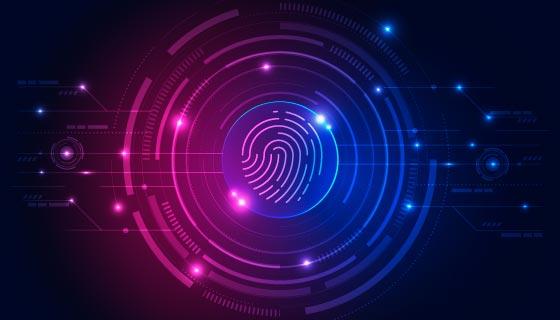 紫色指纹设计科技背景矢量素材(AI/EPS)