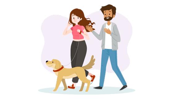 一起遛狗的夫妻矢量素材(AI/EPS/PNG)