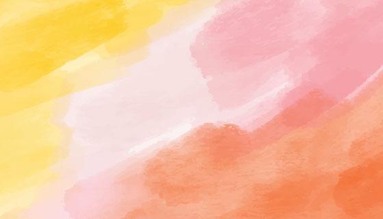 黄色粉色橙色水彩背景矢量素材(AI/EPS)