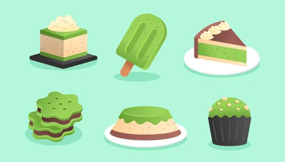 绿色的美味甜点矢量素材(AI/EPS/PNG)
