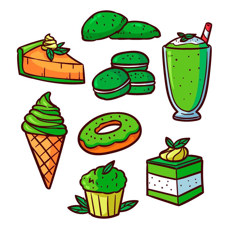 手绘风格绿色抹茶甜点矢量素材(AI/EPS/免扣PNG)