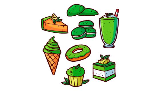 手绘风格绿色抹茶甜点矢量素材(AI/EPS/PNG)