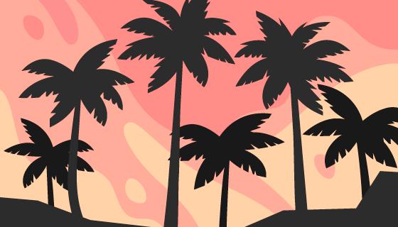 扁平风格棕榈树剪影背景矢量素材(AI/EPS)