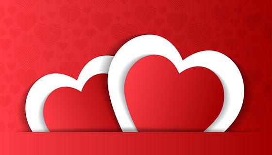 红色爱心情人节卡片矢量素材(EPS/PNG)