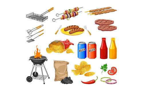 烧烤工具材料矢量素材(EPS/PNG)