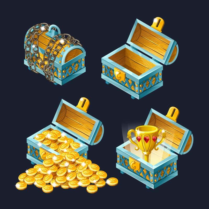卡通风格宝箱和宝藏矢量素材(EPS/免扣PNG)