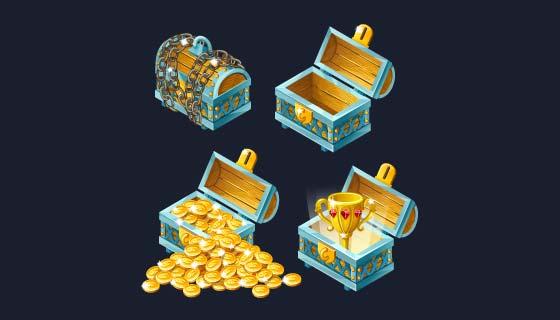 卡通风格宝箱和宝藏矢量素材(EPS/PNG)